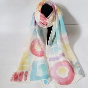 Echo 100% Silk Pastel Abstract Rectangular Scarf